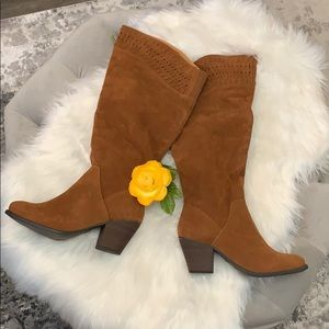 Shoes - NEW! Cognac Tall Boots W/Laser Cutout Accent